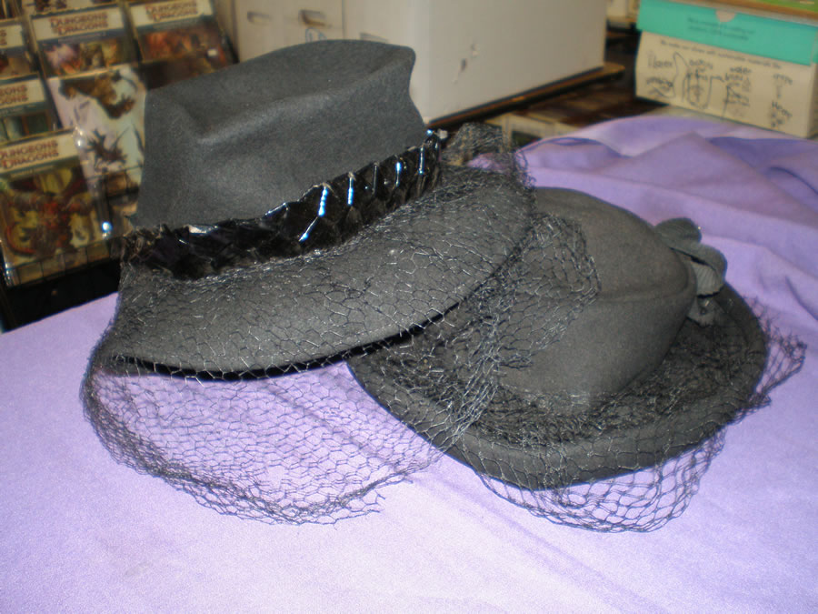 VINTAGE 1970'S BLACK WOOL WOMAN'S HATS WITH VEILS # 1970, 5.5 FN